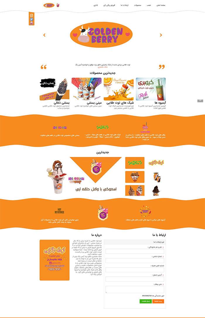 طراحی وب سایت توت طلایی